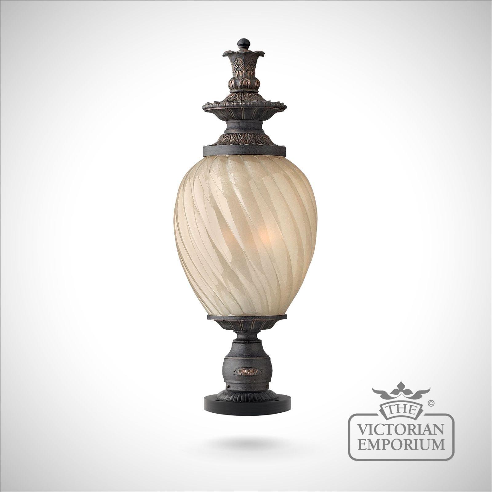 Cheltenham Cast Pedestal Lantern Light Black: Montreal Pedestal Lantern