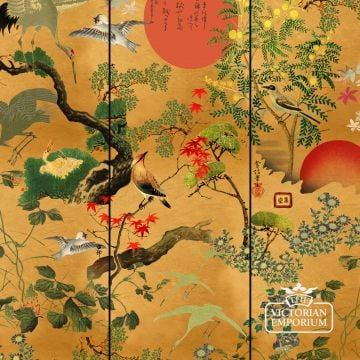Byobu Metallic Wallpaper - featuring Japanese icons including the rising sun, cherry blossoms, maple and crane birds