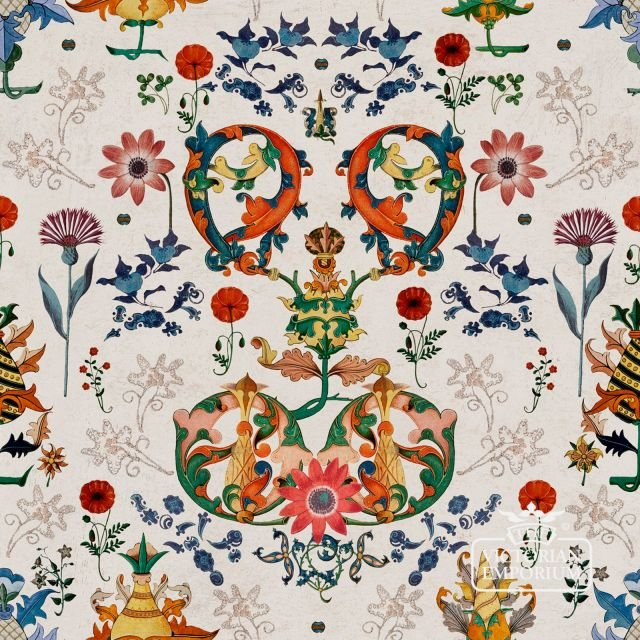 European Folk Wallpaper - featuring wild flowers and thistles with bold entwining foliage