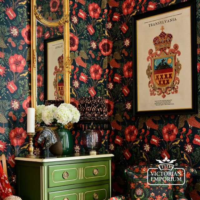 Folk Flowers and Birds Wallpaper