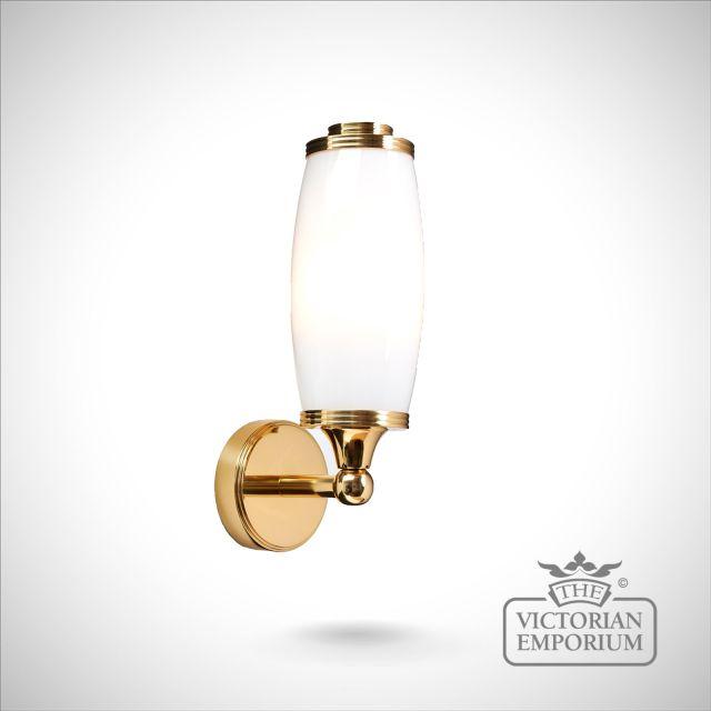 Bathroom wall light in solid brass