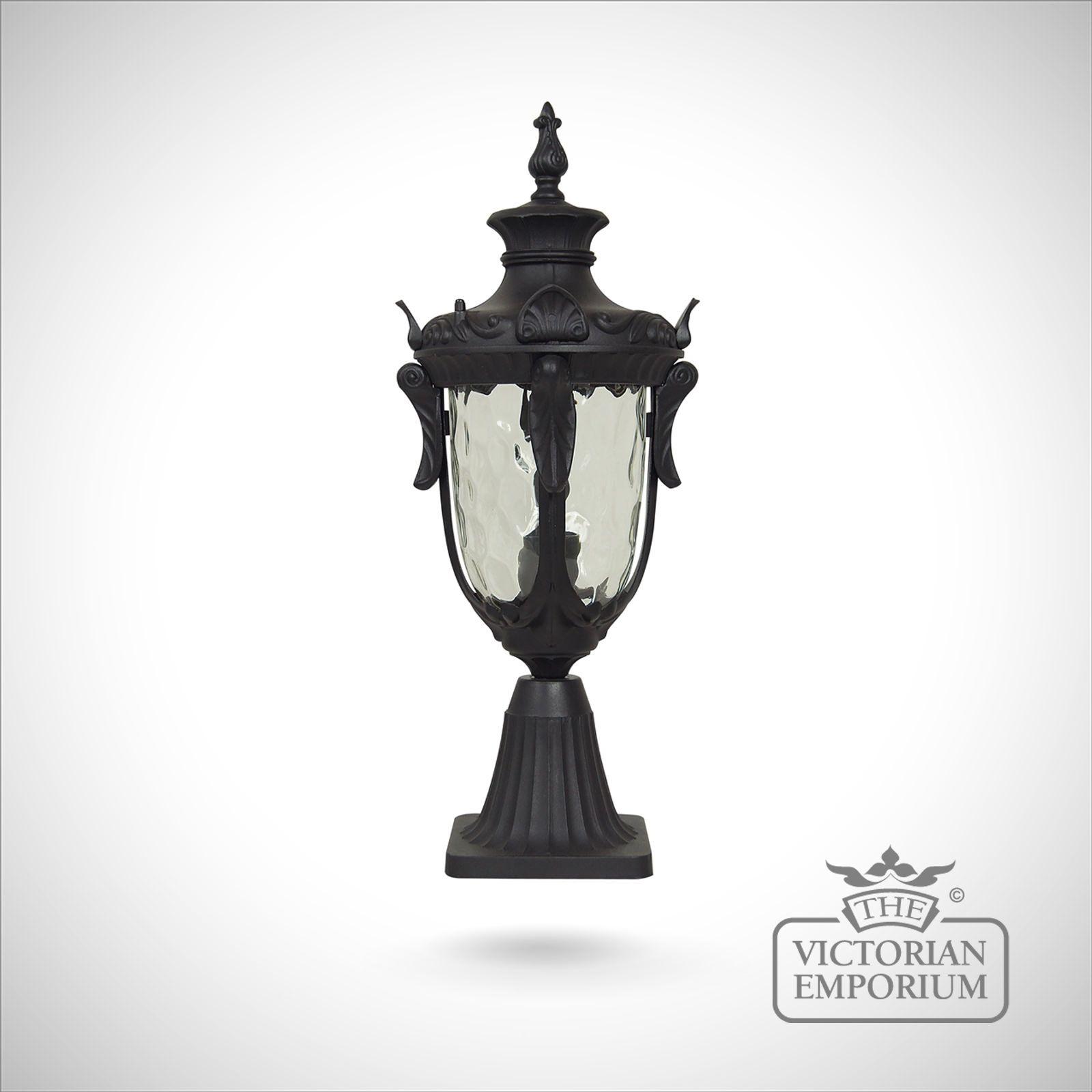 Bedfords Medium Pedestal Lantern In Black: Philadelphia Medium Pedestal Lantern In Black