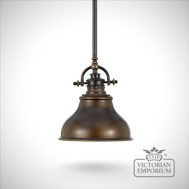 Emerey single mini pendant light in Palladin Bronze