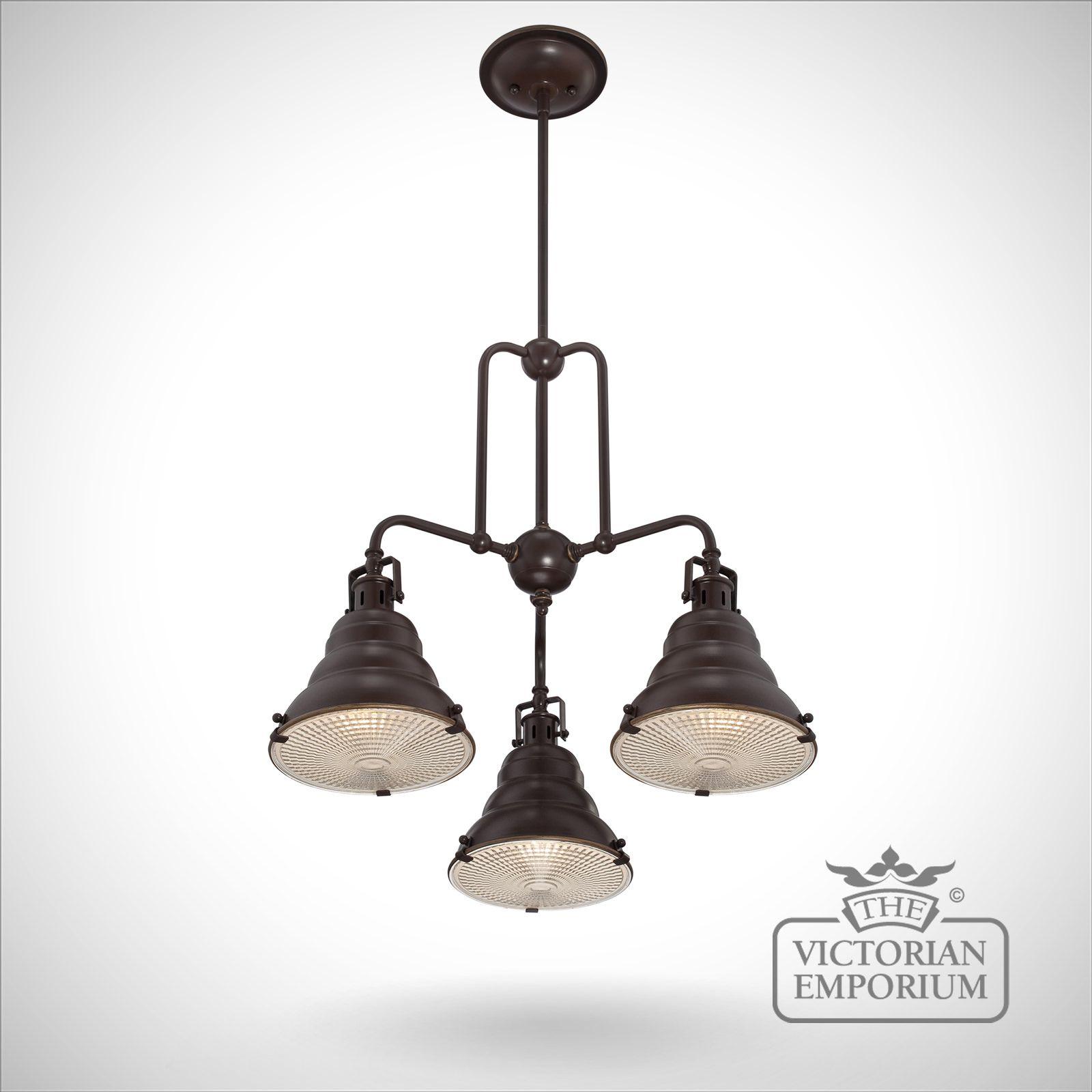 East Vale Triple Ceiling Pendant Light In Palladin Bronze