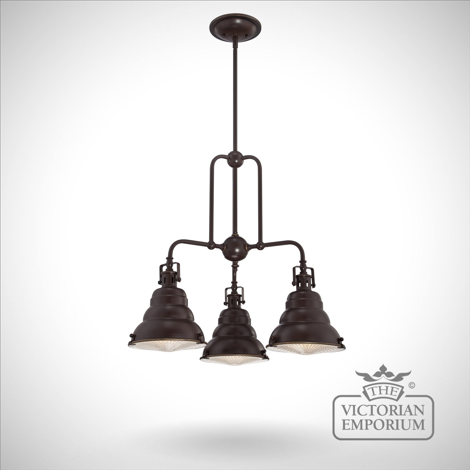 East Vale Triple Ceiling Pendant Light In Palladin Bronze