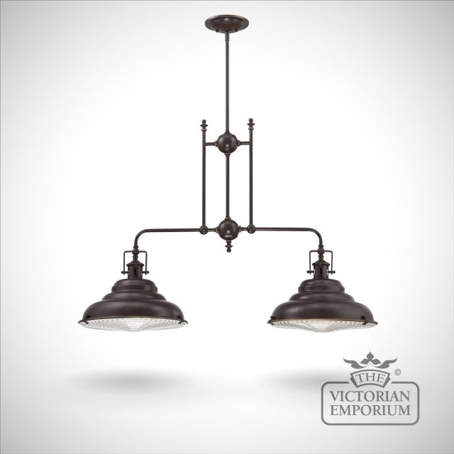 East Vale double ceiling island light in Palladin bronze