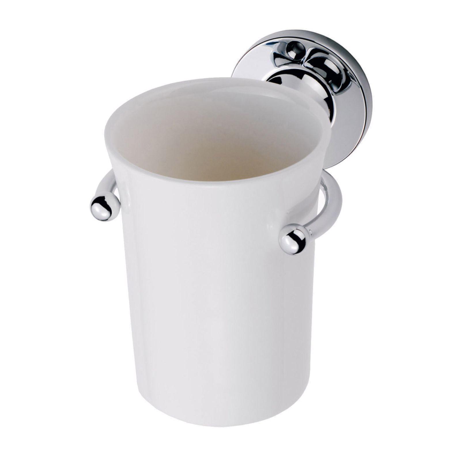 Edwardian single tumbler holder with bone china tumbler for Bath accessories holder