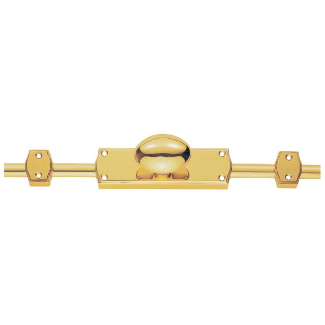 Espagnolette - Oval Knob Set with 2 X  1.2m brass rods and keepers