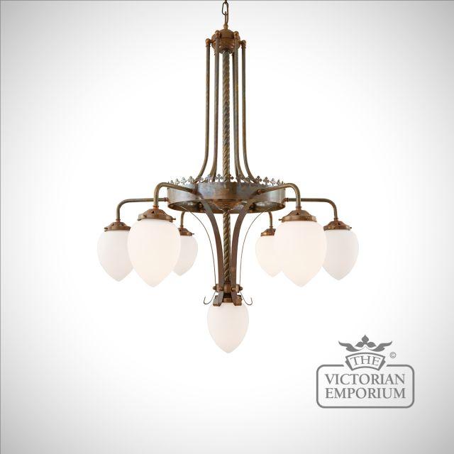 Killarney 6 arm/7 light chandelier for high ceilings
