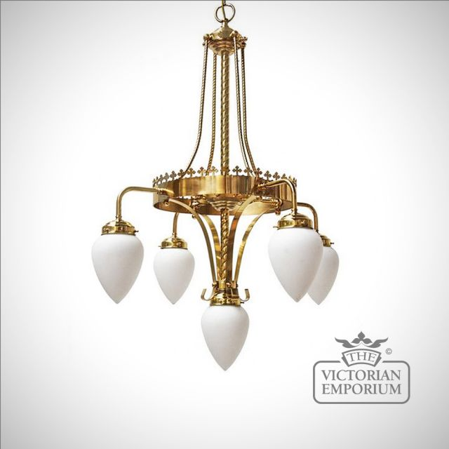 Killarney 4 arm/5 light chandelier for high ceilings