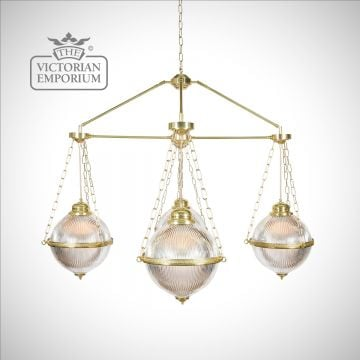 Holophane Glass Chandelier with 3 Arms