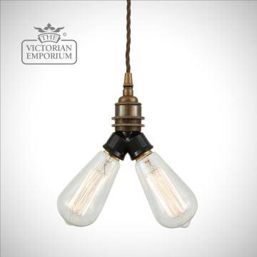 Aris Double Bare Bulb Pendant Light