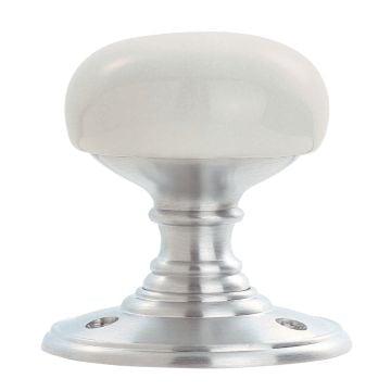Porcelain knob (plain white) 60mm on satin chrome