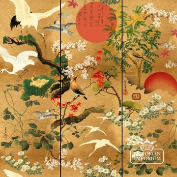 Byobu Standard Wallpaper - featuring Japanese icons including the rising sun, cherry blossoms, maple and crane birds