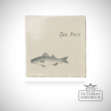 Hand painted tile 13x13cm - sea bass