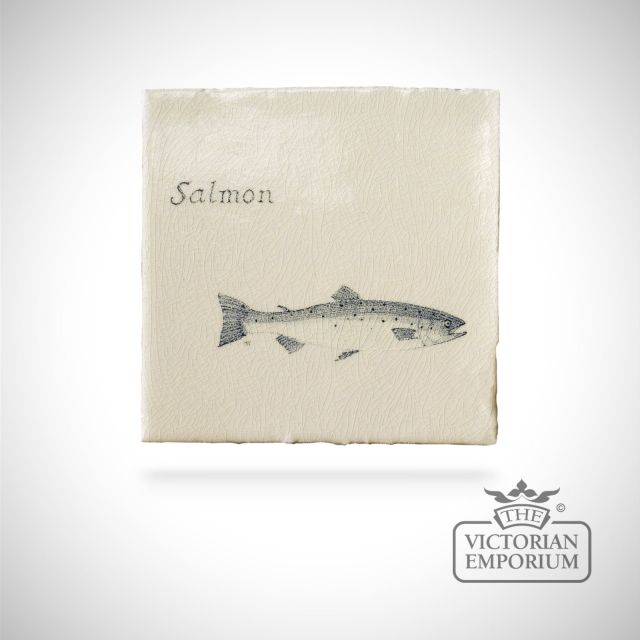 Hand painted tile 13x13cm - salmon