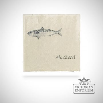 Hand painted tile 13x13cm - mackerel