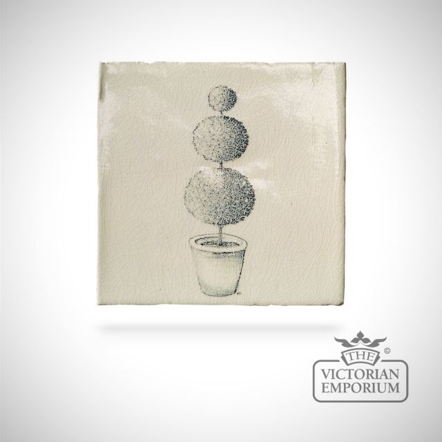 Hand painted tile 13x13cm - Topiary 1