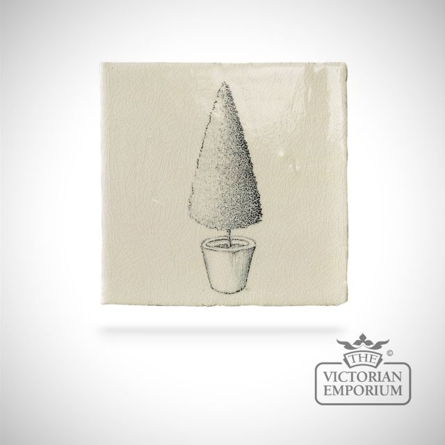 Hand painted tile 13x13cm - Topiary 2