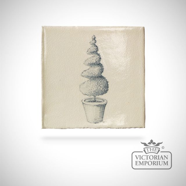 Hand painted tile 13x13cm - Topiary 6