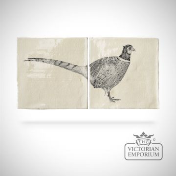 Hand painted tiles 26x13cm - pheasant panel 1