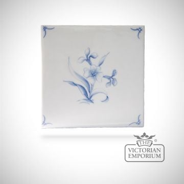 Hand painted tile 13x13cm - Delft Flowers 1