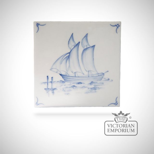 Hand painted tile 13x13cm - Delft Ships 1