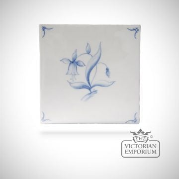 Hand painted tile 13x13cm - Delft Flowers 2