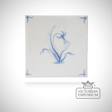 Hand painted tile 13x13cm - Delft Flowers 3