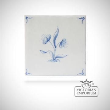 Hand painted tile 13x13cm - Delft Flowers 4