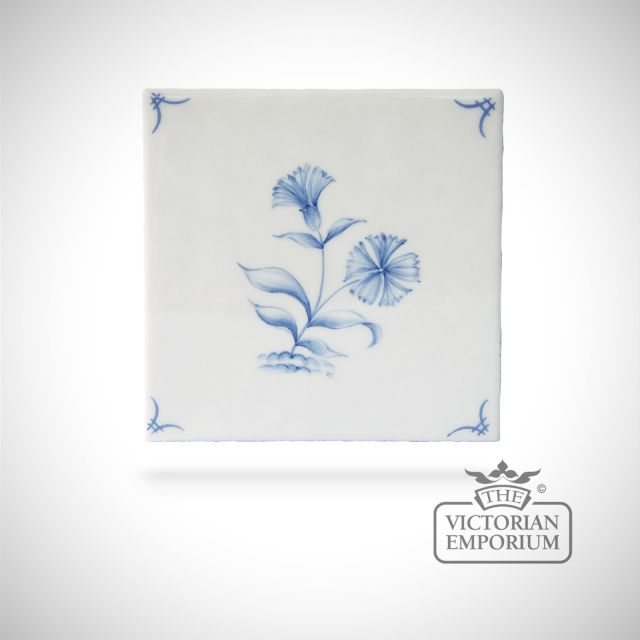 Hand painted tile 13x13cm - Delft Flowers 6