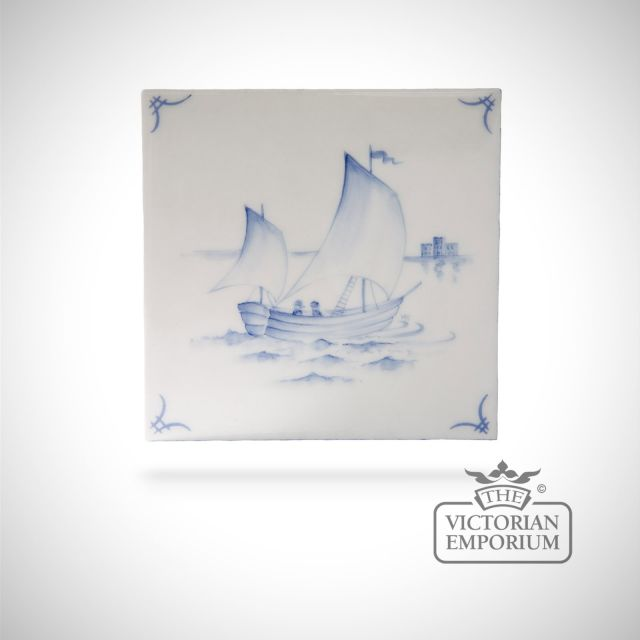 Hand painted tile 13x13cm - Delft Ships 2