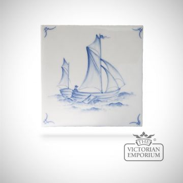 Hand painted tile 13x13cm - Delft Ships 4