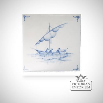 Hand painted tile 13x13cm - Delft Ships 6