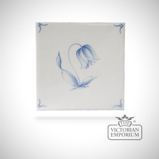 Hand painted tile 13x13cm - Delft Flowers 5
