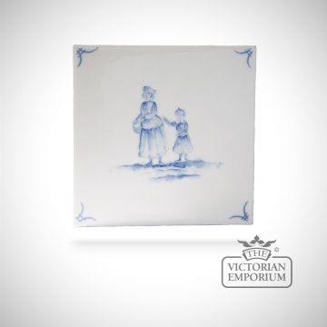 Hand painted tile 13x13cm - Delft Figures 3
