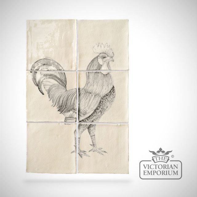Hand painted tile panel - cockerel panel A