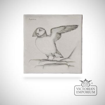 Hand painted tile 13x13cm - Puffin