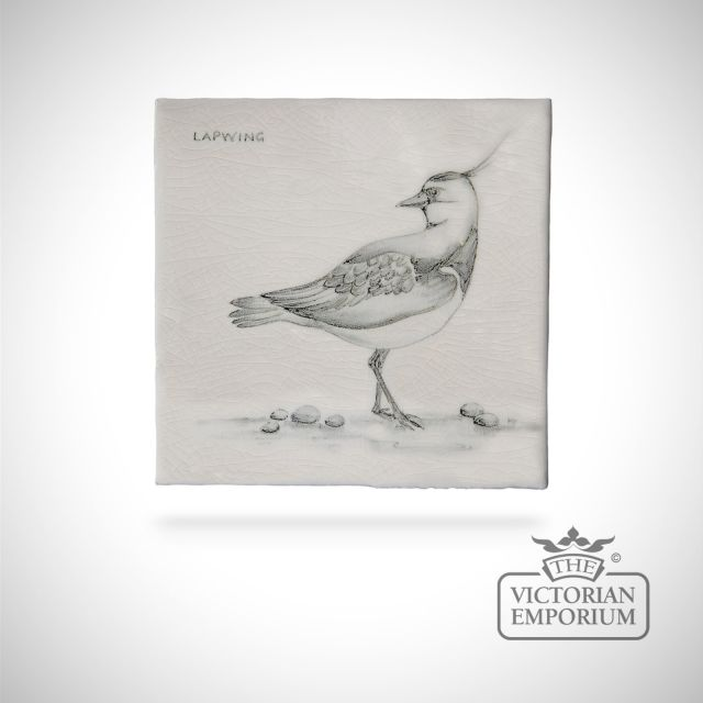 Hand painted tile 13x13cm - lapwing
