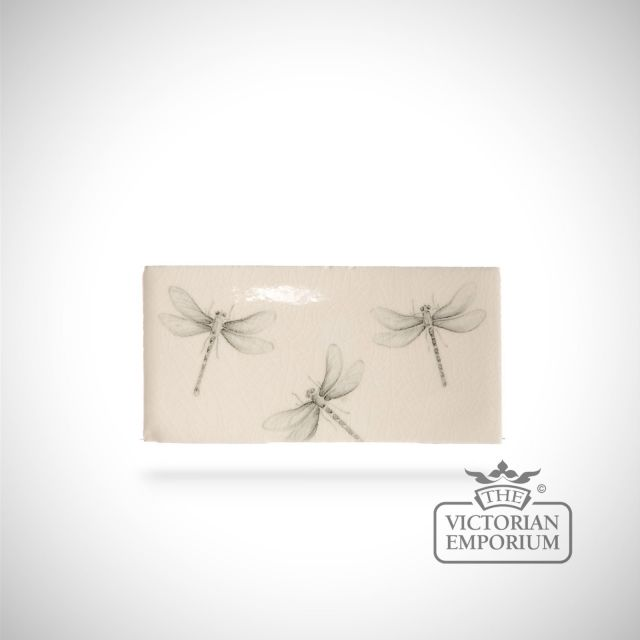 Hand painted tile 6.5x13cm - insect border B