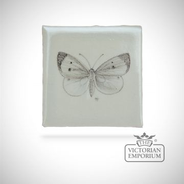Hand painted tile butterfly 3 for Bathroom ideas for 5x6