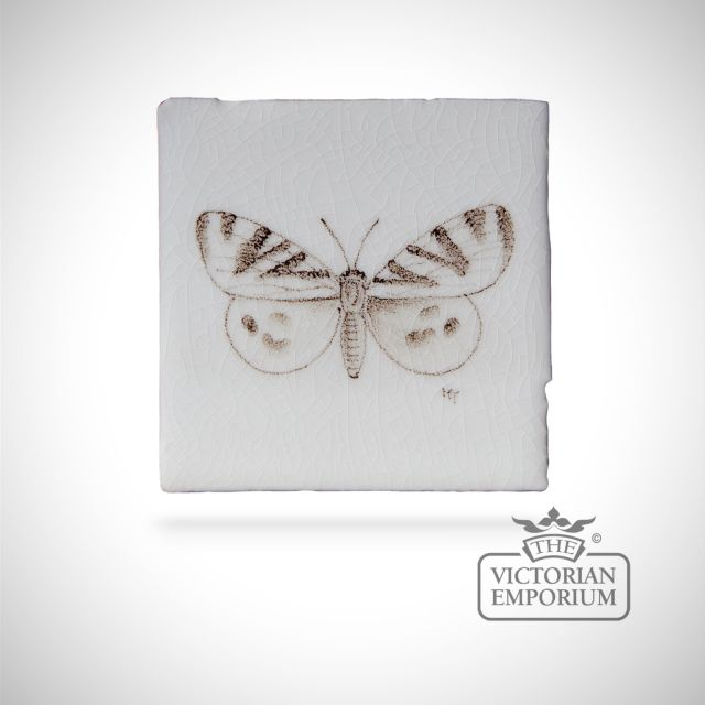 Hand painted tile 6.5x6.5cm - butterfly 6
