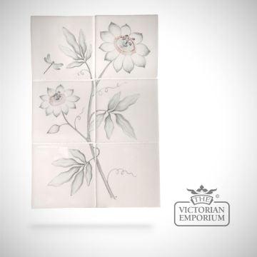 Hand painted tile panel 26x39cm - Passion Flower