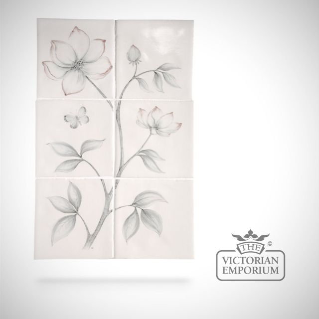 Hand painted tile panel 26x39cm - Clematis