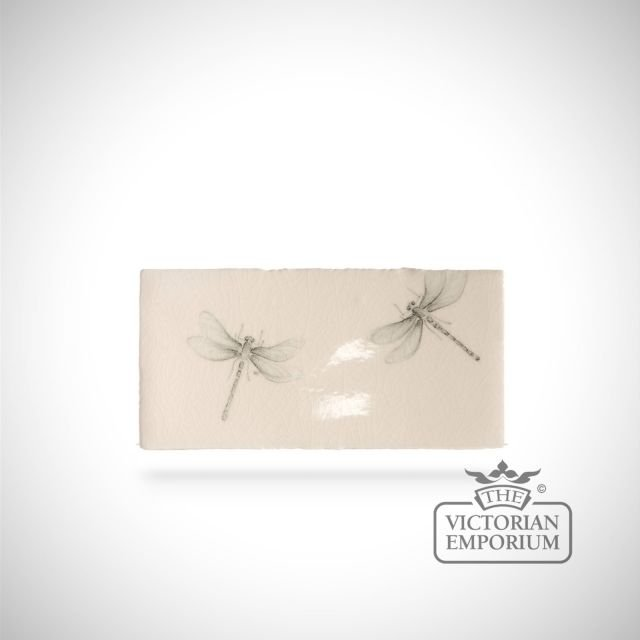 Hand painted tile 6.5x13cm - insect border A