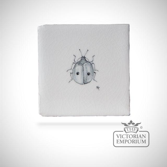 Hand painted tile 6.5x6.5cm - ladybird