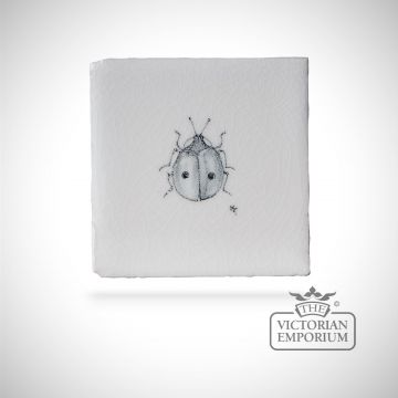 Hand painted tile 6.5x6.5cm - ladybird