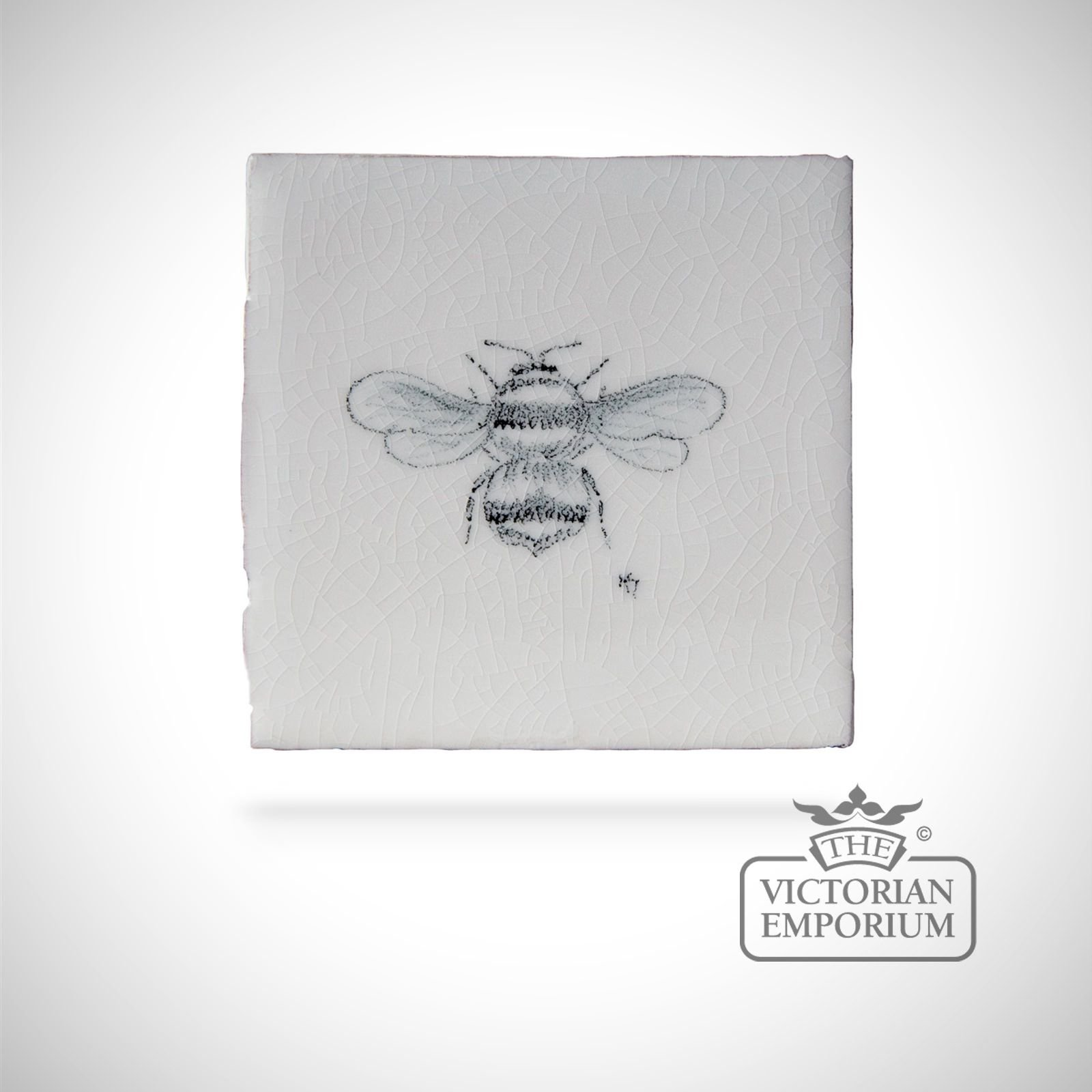 Hand painted tile 6.5x6.5cm - bee