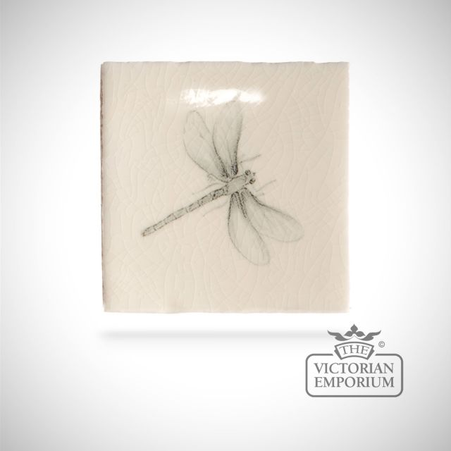 Hand painted tile 6.5x6.5cm - dragonfly 1