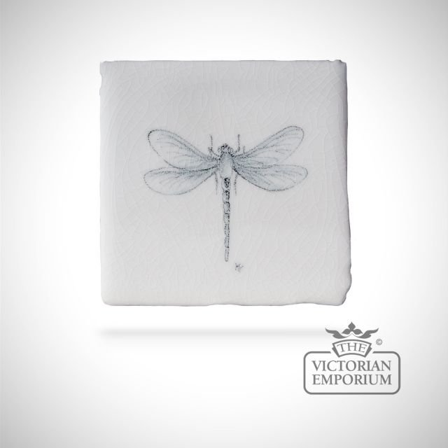 Hand painted tile 6.5x6.5cm - dragonfly 2